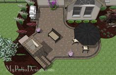L Shaped Patio Design With Fireplace