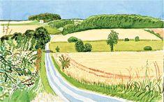 David Hockney   Roads and Cornfields:  -----  composition study