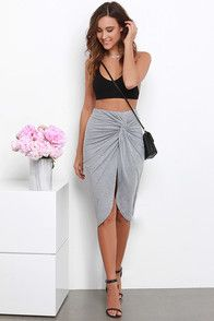 Sideshow Heather Grey Wrap Skirt at Lulus.com!