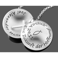 Eine wunderschöne Taufkette aus 925 Sterling Silber. Auf dem Medaillon wird Ihrer Wunschtext oder Taufspruch graviert. Diese Kette ist ein besonderer Schmuck zur Taufe mit individueller Gravur.