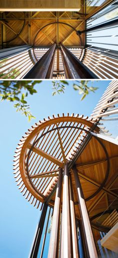 Throughout this modern tree house, you are able to see geometric structures that reveal how squares and circles have been used in harmony for the architectural plan of the house.