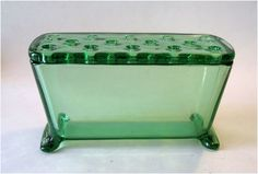 Flower Frog: 1930s Fostoria Green Glass, Art Deco.