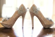 0d91f1003b40 Wedding Shoes -- Champagne Platform Peeptoes with Silver Crystal Heel