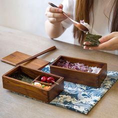 Handmade high quality Japan Style wooden luch box kid portable bento box travelling dining boxes shshi tableware double-layers