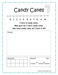 Addition Word Problems (December) Common Core - kindergarten - first grade - number line - ten frame - equation - sum - draw to show word problem - $