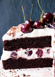 Easy Homemade Black Forest Cake - moist decadent chocolate cake surrounded by whipped cream and juicy black cherries blackforestcake easyblackforestcake blackforestgateau Decadent Chocolate Cake, Decadent Cakes, Chocolate Cherry Cake, Cupcakes, Cupcake Cakes, Cake Recipes, Dessert Recipes, Classic Desserts, Homemade Black