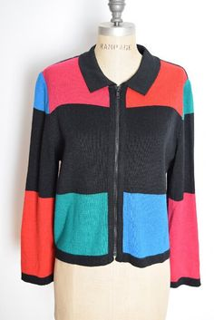 vintage 80s sweater 80s cardigan color block by huncamuncavintage