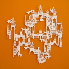 Australian artist Emma Van Leest turns a simple sheet of paper into a magical visual story. She hand-cuts intricate patterns into large sheets, and then mo Kirigami, Paper Cutting, Cut Paper, Papercut Art, Arte Peculiar, Book Sculpture, Paper Snowflakes, The Design Files, Australian Artists