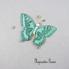 Papillon soie bouton pression vert 7.5 cm Creations, Support, Dimensions, Passion, Accessories, Playing Card, Papillons, Silk, Sewing