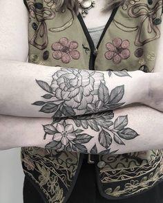 Fresh WTFDotworkTattoo Find Fresh from the Web Peony and oak leaf wrist cuffs on…