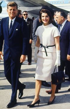 President John F. Kennedy and Jackie Kennedy in San Antonio, Texas, November 21, 1963. Jackie in a white suit and her signature pillbox hat.