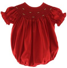 Hiccups Childrens Boutique - Baby Girls Red Smocked Christmas Bubble Outfit…