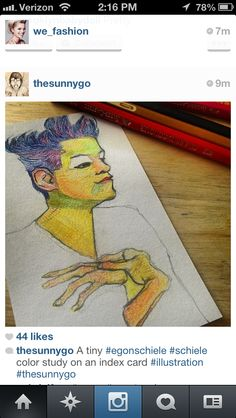 I love love love this piece. It is so small, but so cute and well done. The pencil work is simple but very different. I love his use of colors and the way the face and hands were created are perfection.