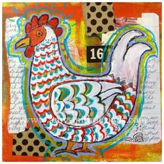 A fabulous funky chicken by the talented Amy Smith, and it's being auctioned to support a fellow artist whose family was impacted by the floods in Colorado.  <3