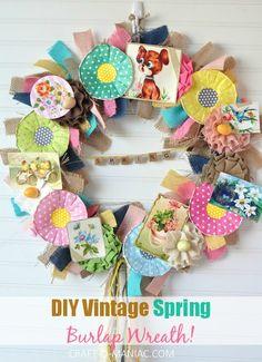 DIY Vintage Spring Burlap Wreath 19pm small