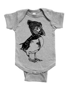 Puffin Baby One Piece - Unique Baby Gift - Baby Boy Bodysuit - Baby Girl Bodysuit - Jumper - Funny Animals - Unisex Infant Clothes - Creeper Unique Baby Gifts, Baby Boy Gifts, Creeper, Baby Bodysuit, Screen Printing, Funny Animals, Jumper, Onesies, Infant