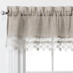 Lillian Faux Linen Valance with Macrame Trim - cortinas - Tier Curtains, Lace Curtains, Curtains With Blinds, Farmhouse Curtains, Kitchen Curtains, Farmhouse Decor, French Country Curtains, Lace Valances, Tiny Living Rooms
