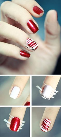 Peppermint Party Nail Art You Will Need White nail polish Red shiny nail polish Strips of tape. How To Apply Peppermint Party Nail Art? – Tutorial Use the shiny red nail polish as the base for all… Do It Yourself Nails, How To Do Nails, Red Nails, Hair And Nails, Xmas Nails, Diy Christmas Nails Easy, Pastel Nails, Bling Nails, Easy Christmas Nail Designs