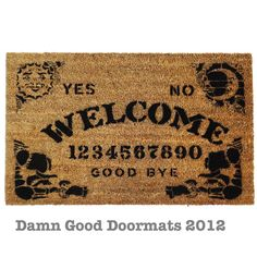 Ouija style board doormat Mystical spooky spirit contact SALE til October 10th. $50.00, via Etsy.