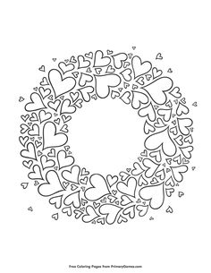 Free printable Valentine's Day Coloring Pages eBook for use in your classroom or home from PrimaryGames. Print and color this Heart Wreath coloring page. Printable Valentines Coloring Pages, Valentines Day Coloring Page, Free Printable Coloring Pages, Heart Coloring Pages, Free Adult Coloring Pages, Coloring Books, Hand Embroidery Letters, Hand Embroidery Patterns Flowers, Clip Art