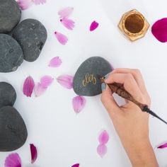 Rock Place cards written by Laura Hooper Calligraphy