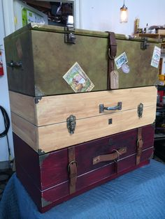 Faux luggage dresser. Fairly easy. Looks good...  Vintage Luggage Dresser Drawers - DIY With Tanya