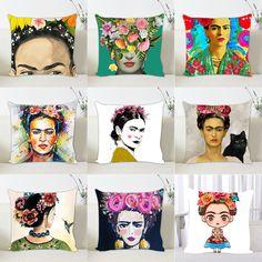17''Linen/Cotton Frida Kahlo Print Cushion Cover Throw Pillowcase Sofa Decor