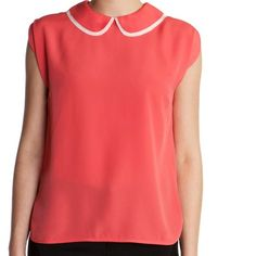 Ted Baker Indeea coral pink Peter Pan collar Top With split sleeves and a metallic back zip, this bright collared top is perfect for those with an eye for detail. The feature peter pan collar will add a sweet touch to any ensemble. The size I have listed are Ted Baker sizes. Thank you These tops are overstock. Some may be missing tags or tags marked through to prevent returns. Ted Baker Tops Blouses