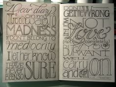 typography in diary