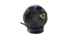 360fly 360 Degree Camera. Includes, camera, sleeve, charging cable, charging cradle, action camera adapter. Location: Box ZZ