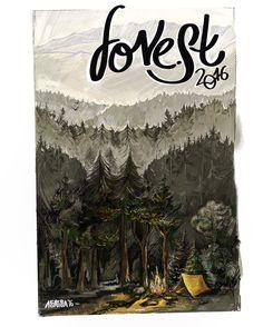 Illustrations. Forest, camping. Digital art