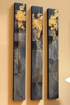 New World Trilogy 14016 by Southwest Abstract Art mixed media ~ 48 x 18