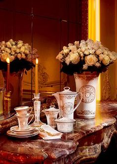 Medusa Gala Coffee Cup & Saucer by Versace Home. Medusa Gala is a new luxurious and elaborately decorated tableware range that complements the glamous Versace lifestyle line. Decor, Plate Design, Tea Time Table, Royal Decorations, Home Decor, Home Collections, Versace Home, Vases Decor, Luxury Tableware