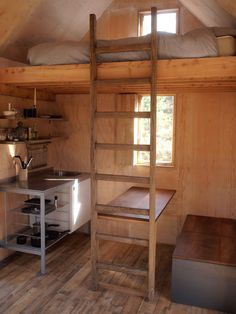 Great idea of tucking a little eating area next to the little kitchen, integrating the table Into the ladder interior cozy small spaces The Inshriach Bothy Small Loft Spaces, Small Rooms, Home Design, Tiny House Design, Small Cabin Designs, Mini Loft, House Ideas, Interior Minimalista, Bothy