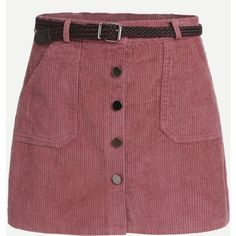Pink Corduroy Single Breasted Pockets Skirt With Belt (31 BRL) ❤ liked on Polyvore featuring skirts, bottoms, faldas, pink, pink bodycon skirt, bodycon skirt, pink skirt, mini skirts and red mini skirt