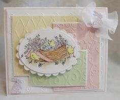 Easter Nest by hordemother - Cards and Paper Crafts at Splitcoaststampers Card Making Techniques, Pretty Pastel, Jelly Beans, Flower Cards, Scrapbook Cards, Spring Flowers, Cardmaking, Decorative Plates, Paper Crafts