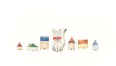 """Cat's Miku and Small Houses"" −RiLi, picture book, illustration, design ___ ""猫の子ミクと小さなお家"" −リリ, 絵本, イラスト, デザイン ...... #illustration #cat #house #color #イラスト #猫 #家 #色"
