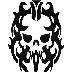 Tribal Death Skull 7 Vinyl Decal Sticker  BallzBeatz . com Stencil Templates, Stencils, Punisher Skull Decal, Leather Projects, Skull Art, Vinyl Decals, Tattoo Designs, Death, Stickers