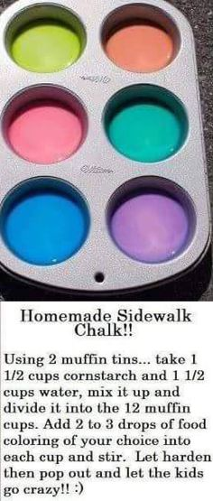 HOMEMADE SIDEWALK CHALK made in a muffin tin! So smart. Must try-