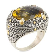 Citrine Sterling Silver Ring with 18K Gold Accents   Cirque Jewels