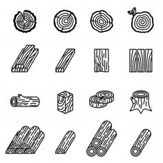 Logging And Wood Icon Set With White Background. Logging and wood icon set with white bac. Tp Logo, Icons Web, Wood Logo, Vector Freepik, Minimal Design, Logo Nasa, Web Design, Graphic Design, Logo Design Inspiration
