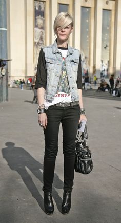rocker -- denim jacket, black skinny jeans, leather, boots, band tee -- perfect