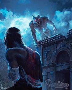 Curse of Wolf - Mitos y Leyendas TCG by SolDevia on DeviantArt Werewolf Vs Vampire, Werewolf Art, Werewolf Drawings, Werewolf Stories, Fantasy Creatures, Mythical Creatures, Dark Fantasy, Fantasy Art, Bark At The Moon