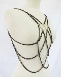 Trapezium body chain - The Lily // body chain - body jewellery - body armour jewelry -  body harness - body chain jewelry