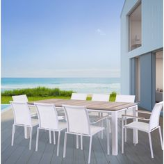 Everyone will do a double take when they first see this collection. This Darrius 9 Piece Dining Set raises the bar and sets a new standard for casual furniture. Modern angles combined with soft curves create a striking silhouette. A durable outdoor living area to both admire and reflect its surrounding beauty. Generously scaled dining chairs made from aluminum frames and smoothly powder coated in finish and tightly woven sling material.
