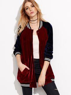 Shein Burgundy Contrast Raglan Sleeve Velvet Bomber Jacket
