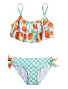 Pineapple Flounce Bikini Swimsuit | Girls Swimsuits Swimwear | Shop Justice #penguinteen #summerreads