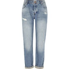 River Island Mid blue embellished hem boyfriend jeans ($90) ❤ liked on Polyvore featuring jeans, blue, boyfriend / slouch jeans, women, slouchy boyfriend jeans, denim jeans, tall boyfriend jeans, ripped blue jeans and embellish jeans