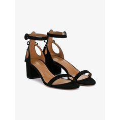 Aquazzura Pixie Block Heel Sandals (10,305 MXN) ❤ liked on Polyvore featuring shoes, sandals, black shoes, bow tie shoes, block heel sandals, mid-heel sandals and black sandals