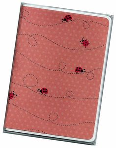 Passport Cover  Ladybugs on Pink  a cardstock